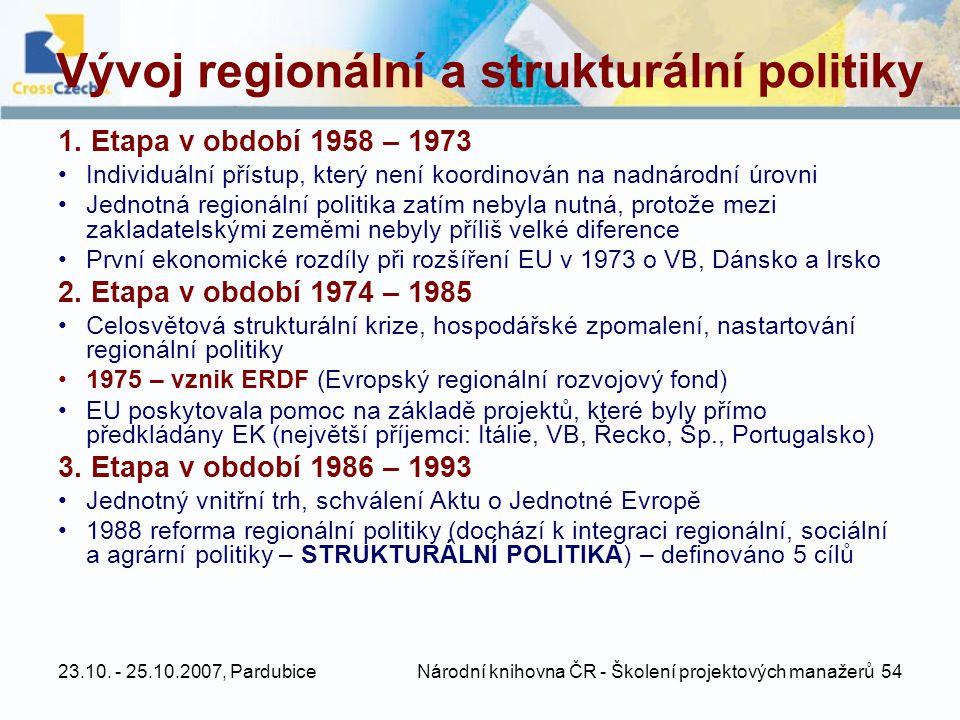 23.10. - 25.10.2007, Pardubice Národní knihovna ČR - Školení projektových manažerů 54 Vývoj regionální a strukturální politiky 1. Etapa v období 1958