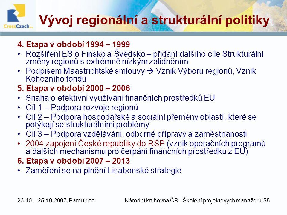 23.10. - 25.10.2007, Pardubice Národní knihovna ČR - Školení projektových manažerů 55 Vývoj regionální a strukturální politiky 4. Etapa v období 1994