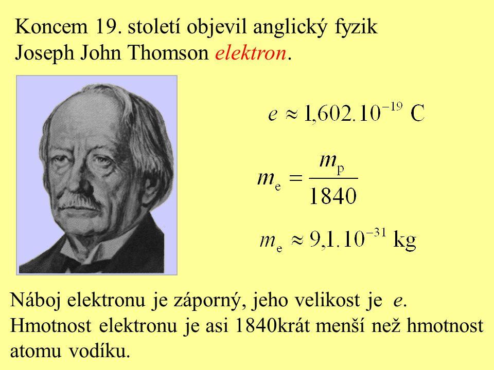 Koncem 19. století objevil anglický fyzik Joseph John Thomson elektron. Náboj elektronu je záporný, jeho velikost je e. Hmotnost elektronu je asi 1840