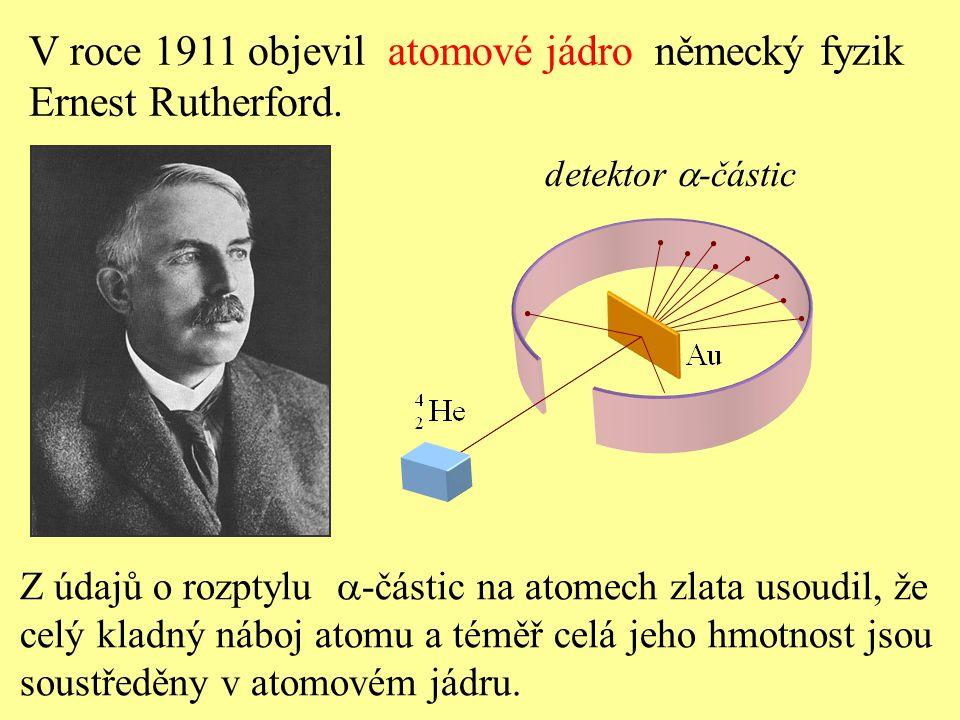 V roce 1911 objevil atomové jádro německý fyzik Ernest Rutherford. Z údajů o rozptylu  -částic na atomech zlata usoudil, že celý kladný náboj atomu a
