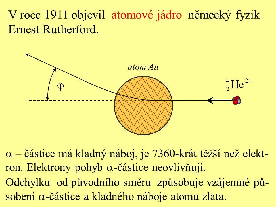  – částice má kladný náboj, je 7360-krát těžší než elekt- ron. Elektrony pohyb  -částice neovlivňují. Odchylku od původního směru způsobuje vzájemn
