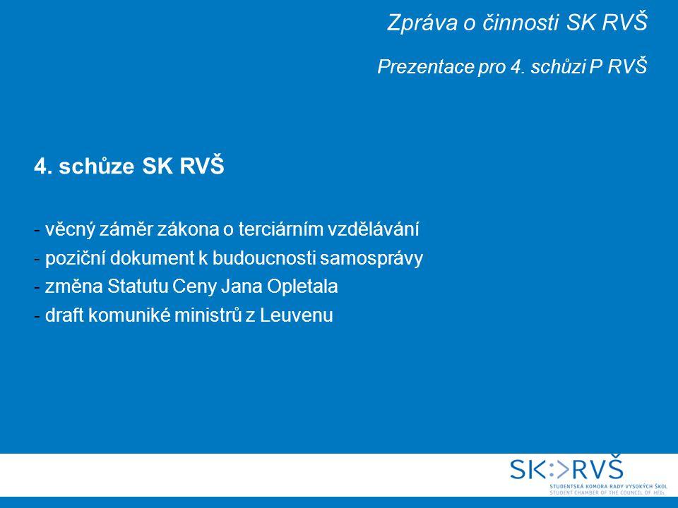 Zpráva o činnosti SK RVŠ Prezentace pro 4. schůzi P RVŠ 4.