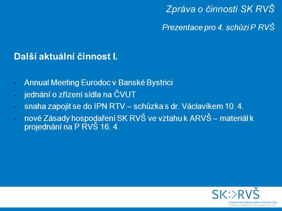 Zpráva o činnosti SK RVŠ Prezentace pro 4. schůzi P RVŠ Další aktuální činnost I.