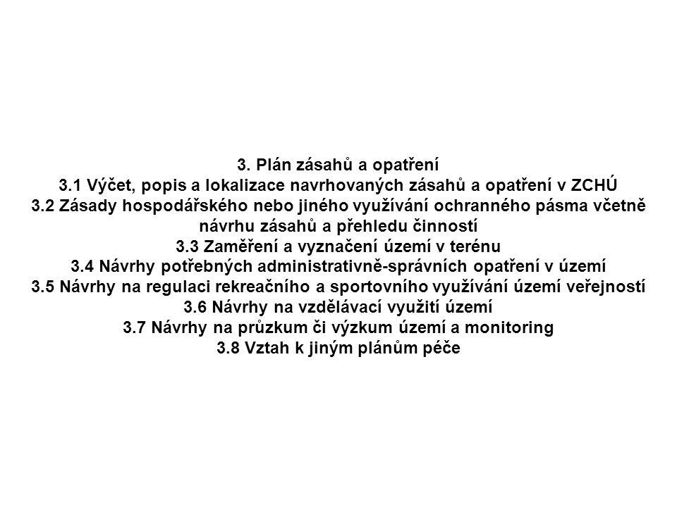 3. Plán zásahů a opatření 3.1 Výčet, popis a lokalizace navrhovaných zásahů a opatření v ZCHÚ 3.2 Zásady hospodářského nebo jiného využívání ochrannéh