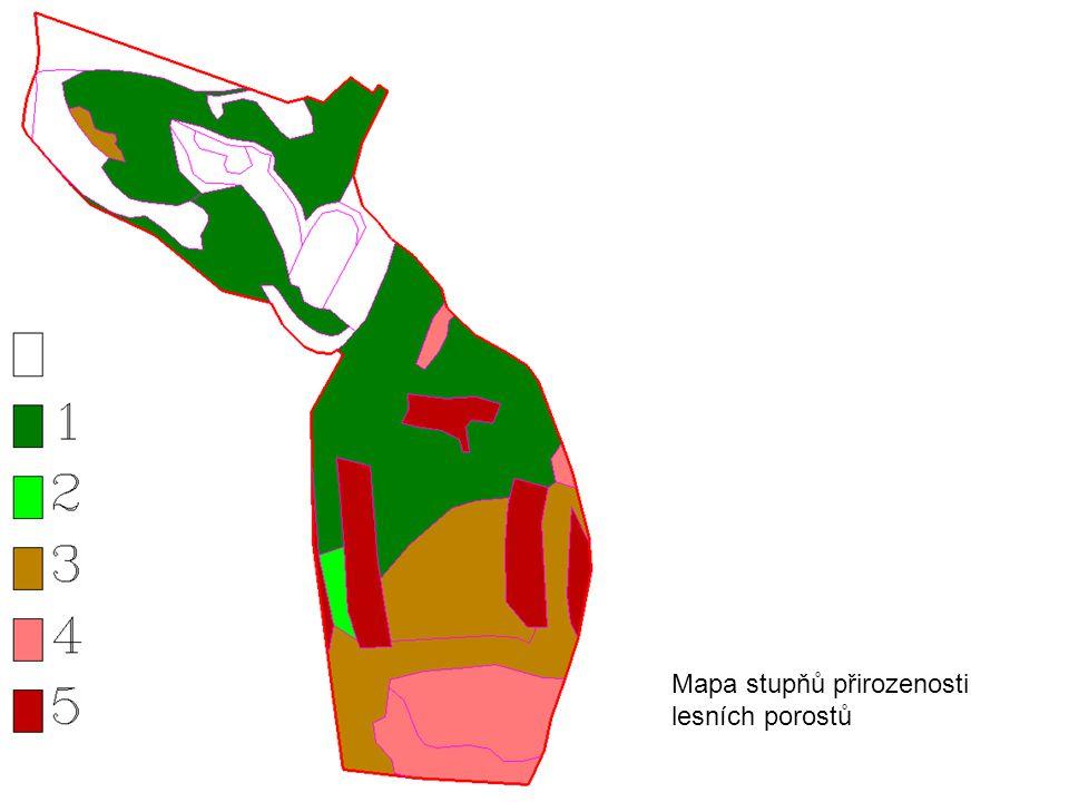 Mapa stupňů přirozenosti lesních porostů