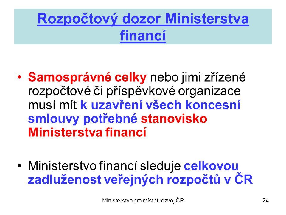 Ministerstvo pro místní rozvoj ČR24 Rozpočtový dozor Ministerstva financí •Samosprávné celky nebo jimi zřízené rozpočtové či příspěvkové organizace musí mít k uzavření všech koncesní smlouvy potřebné stanovisko Ministerstva financí •Ministerstvo financí sleduje celkovou zadluženost veřejných rozpočtů v ČR