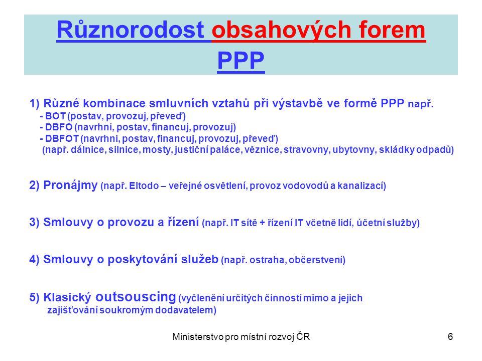 Ministerstvo pro místní rozvoj ČR6 Různorodost obsahových forem PPP 1) Různé kombinace smluvních vztahů při výstavbě ve formě PPP např.