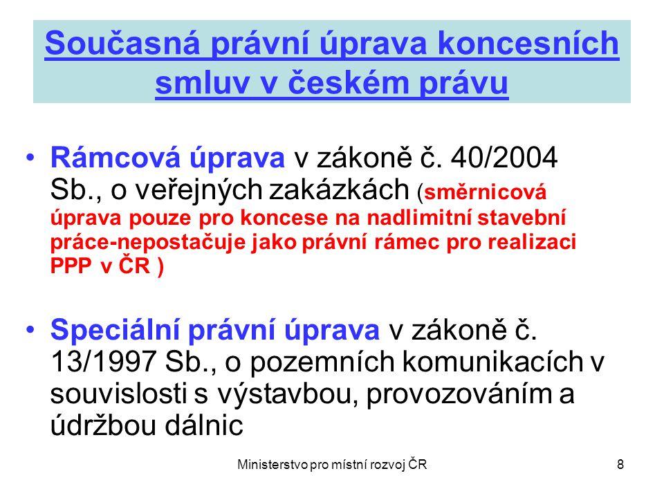 Ministerstvo pro místní rozvoj ČR9 Co bylo cílem předkladatele koncesního zákona.