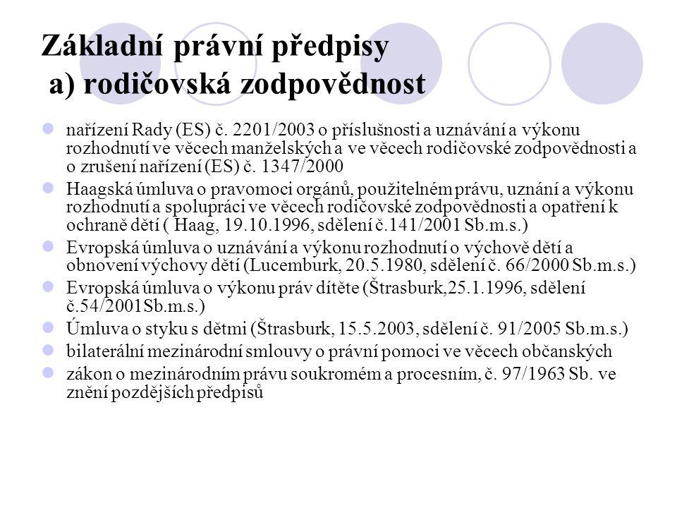 Základní právní předpisy a) rodičovská zodpovědnost  nařízení Rady (ES) č. 2201/2003 o příslušnosti a uznávání a výkonu rozhodnutí ve věcech manželsk