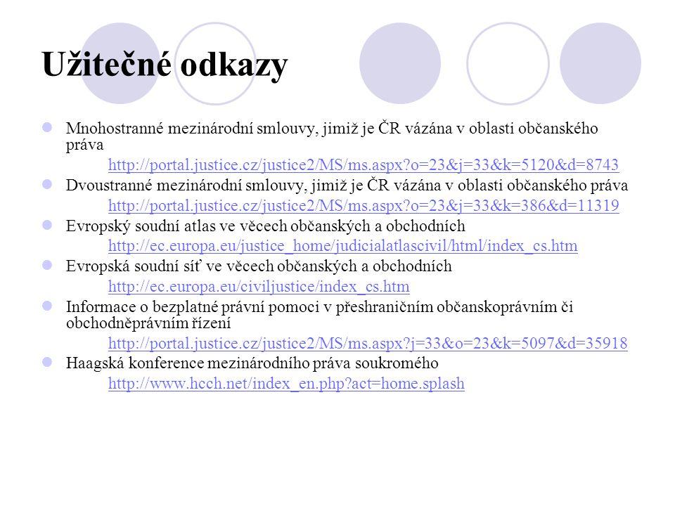 Užitečné odkazy  Mnohostranné mezinárodní smlouvy, jimiž je ČR vázána v oblasti občanského práva http://portal.justice.cz/justice2/MS/ms.aspx?o=23&j=33&k=5120&d=8743  Dvoustranné mezinárodní smlouvy, jimiž je ČR vázána v oblasti občanského práva http://portal.justice.cz/justice2/MS/ms.aspx?o=23&j=33&k=386&d=11319  Evropský soudní atlas ve věcech občanských a obchodních http://ec.europa.eu/justice_home/judicialatlascivil/html/index_cs.htm  Evropská soudní síť ve věcech občanských a obchodních http://ec.europa.eu/civiljustice/index_cs.htm  Informace o bezplatné právní pomoci v přeshraničním občanskoprávním či obchodněprávním řízení http://portal.justice.cz/justice2/MS/ms.aspx?j=33&o=23&k=5097&d=35918  Haagská konference mezinárodního práva soukromého http://www.hcch.net/index_en.php?act=home.splash