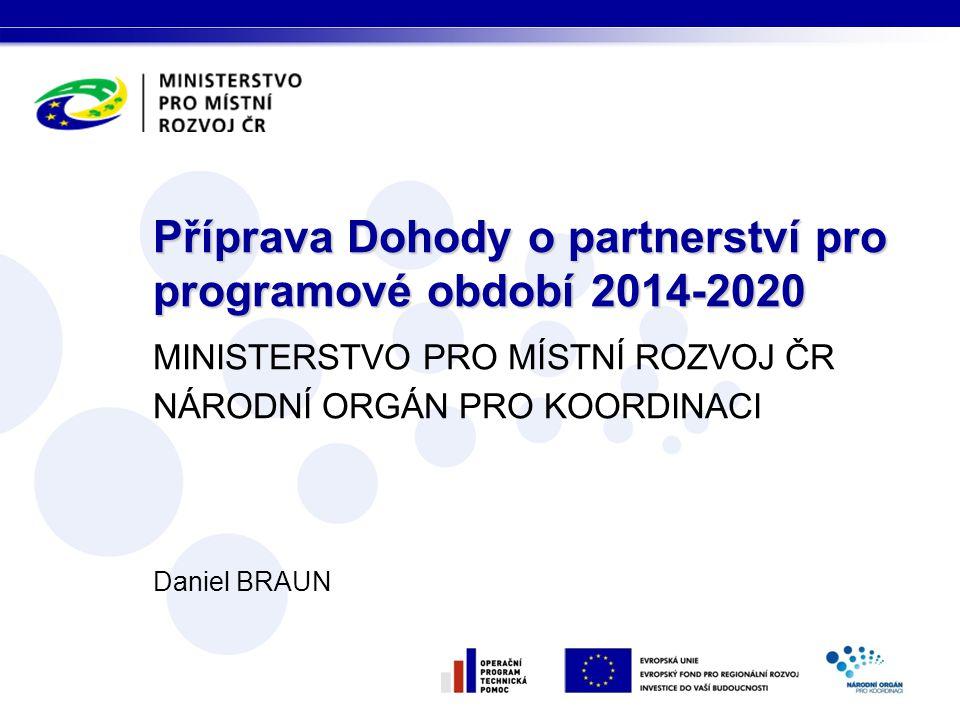 MINISTERSTVO PRO MÍSTNÍ ROZVOJ ČR NÁRODNÍ ORGÁN PRO KOORDINACI Daniel BRAUN Příprava Dohody o partnerství pro programové období 2014-2020