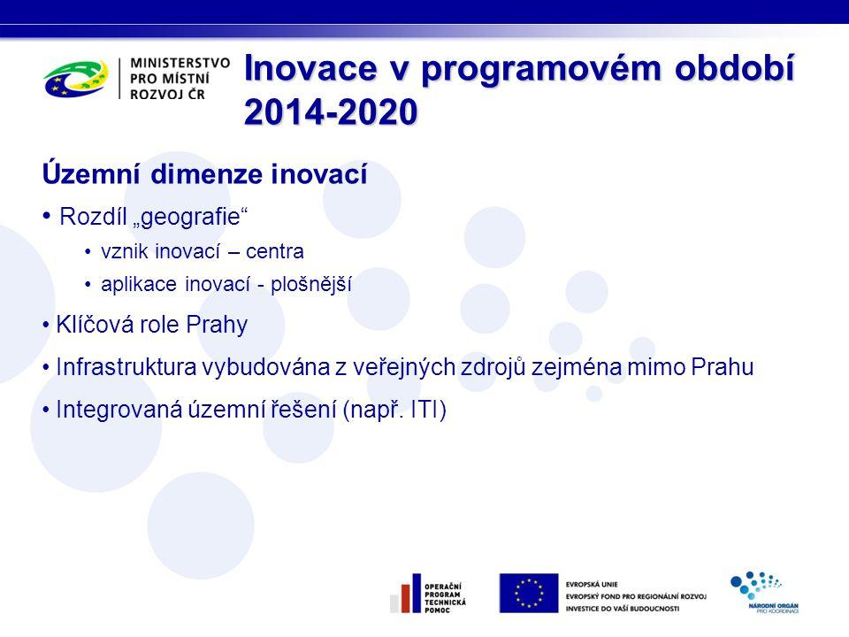 """Územní dimenze inovací • Rozdíl """"geografie •vznik inovací – centra •aplikace inovací - plošnější • Klíčová role Prahy • Infrastruktura vybudována z veřejných zdrojů zejména mimo Prahu • Integrovaná územní řešení (např."""