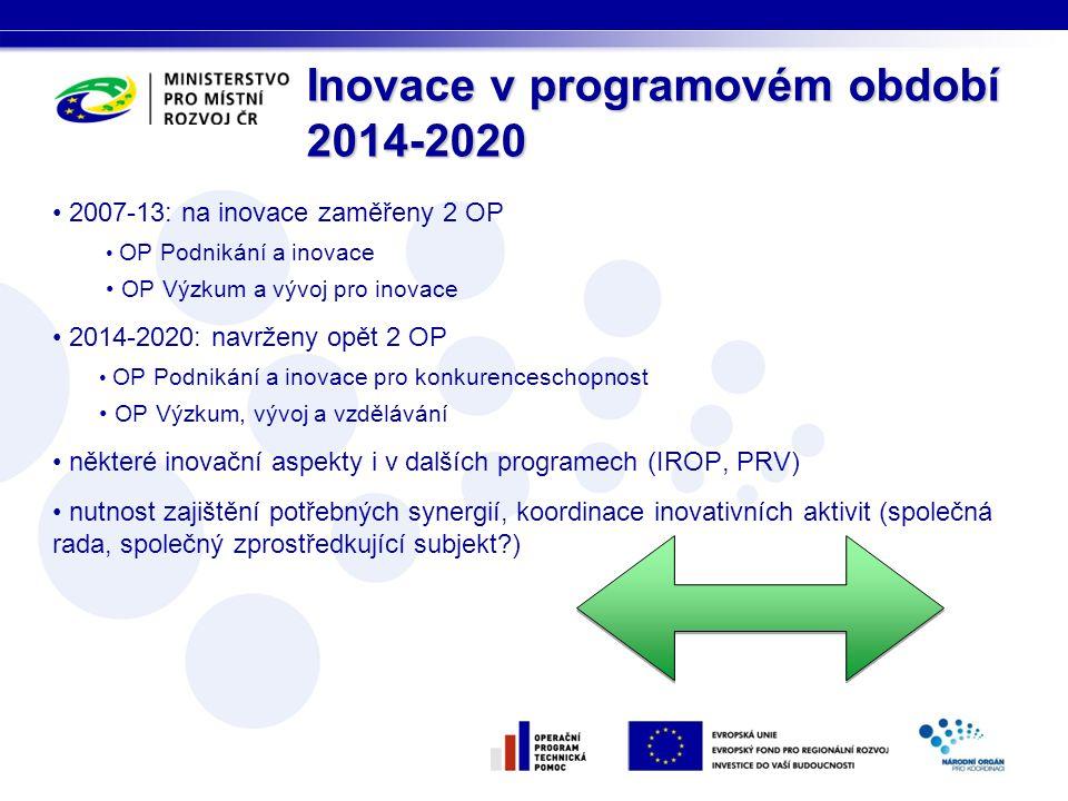 • 2007-13: na inovace zaměřeny 2 OP • OP Podnikání a inovace • OP Výzkum a vývoj pro inovace • 2014-2020: navrženy opět 2 OP • OP Podnikání a inovace pro konkurenceschopnost • OP Výzkum, vývoj a vzdělávání • některé inovační aspekty i v dalších programech (IROP, PRV) • nutnost zajištění potřebných synergií, koordinace inovativních aktivit (společná rada, společný zprostředkující subjekt ) Inovace v programovém období 2014-2020