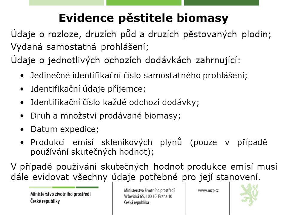 Evidence pěstitele biomasy Údaje o rozloze, druzích půd a druzích pěstovaných plodin; •Jedinečné identifikační číslo samostatného prohlášení; •Identifikační údaje příjemce; •Identifikační číslo každé odchozí dodávky; •Druh a množství prodávané biomasy; •Datum expedice; •Produkci emisí skleníkových plynů (pouze v případě používání skutečných hodnot); Údaje o jednotlivých ochozích dodávkách zahrnující: Vydaná samostatná prohlášení; V případě používání skutečných hodnot produkce emisí musí dále evidovat všechny údaje potřebné pro její stanovení.