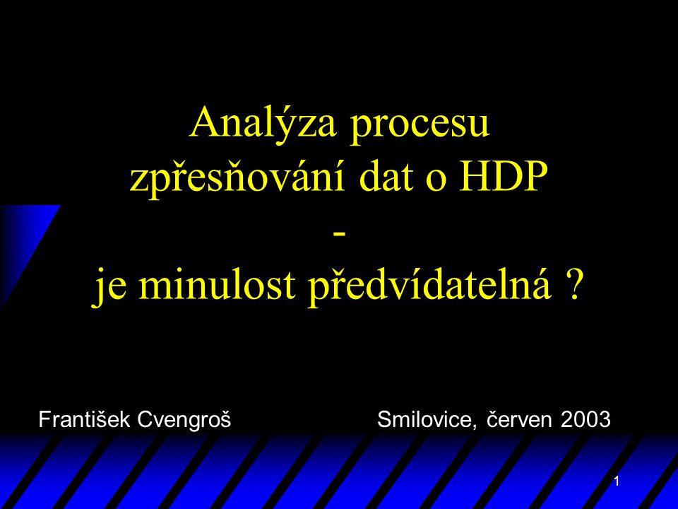 1 Analýza procesu zpřesňování dat o HDP - je minulost předvídatelná ? František Cvengroš Smilovice, červen 2003