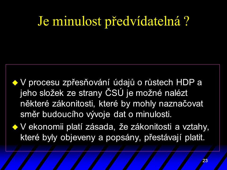 23 Je minulost předvídatelná ? u V procesu zpřesňování údajů o růstech HDP a jeho složek ze strany ČSÚ je možné nalézt některé zákonitosti, které by m