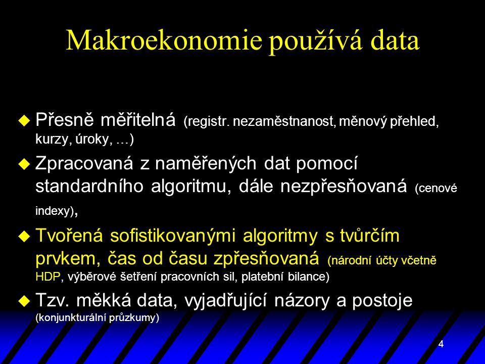 4 Makroekonomie používá data u Přesně měřitelná (registr. nezaměstnanost, měnový přehled, kurzy, úroky, …) u Zpracovaná z naměřených dat pomocí standa