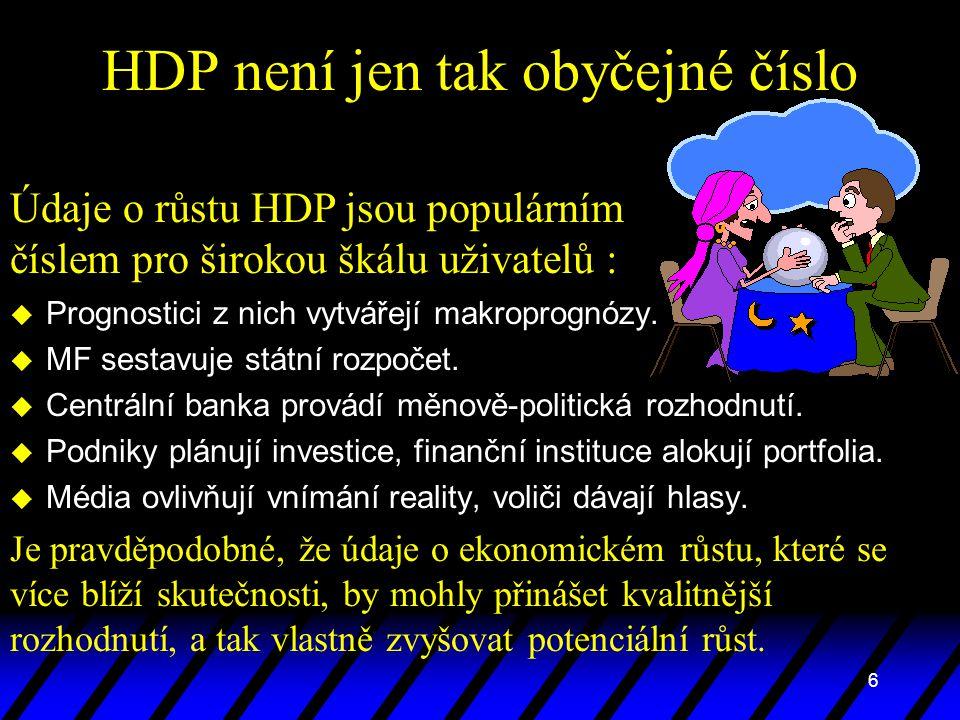 6 HDP není jen tak obyčejné číslo u Prognostici z nich vytvářejí makroprognózy. u MF sestavuje státní rozpočet. u Centrální banka provádí měnově-polit
