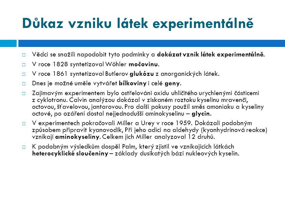 Důkaz vzniku látek experimentálně  Vědci se snažili napodobit tyto podmínky a dokázat vznik látek experimentálně.  V roce 1828 syntetizoval Wöhler m