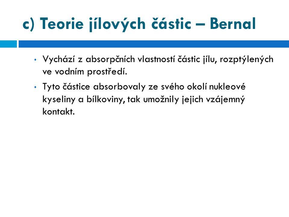 c) Teorie jílových částic – Bernal • Vychází z absorpčních vlastností částic jílu, rozptýlených ve vodním prostředí. • Tyto částice absorbovaly ze své
