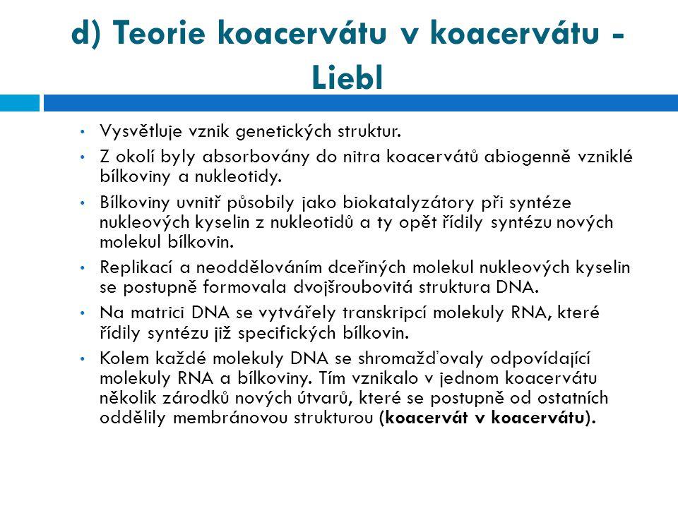 d) Teorie koacervátu v koacervátu - Liebl • Vysvětluje vznik genetických struktur. • Z okolí byly absorbovány do nitra koacervátů abiogenně vzniklé bí