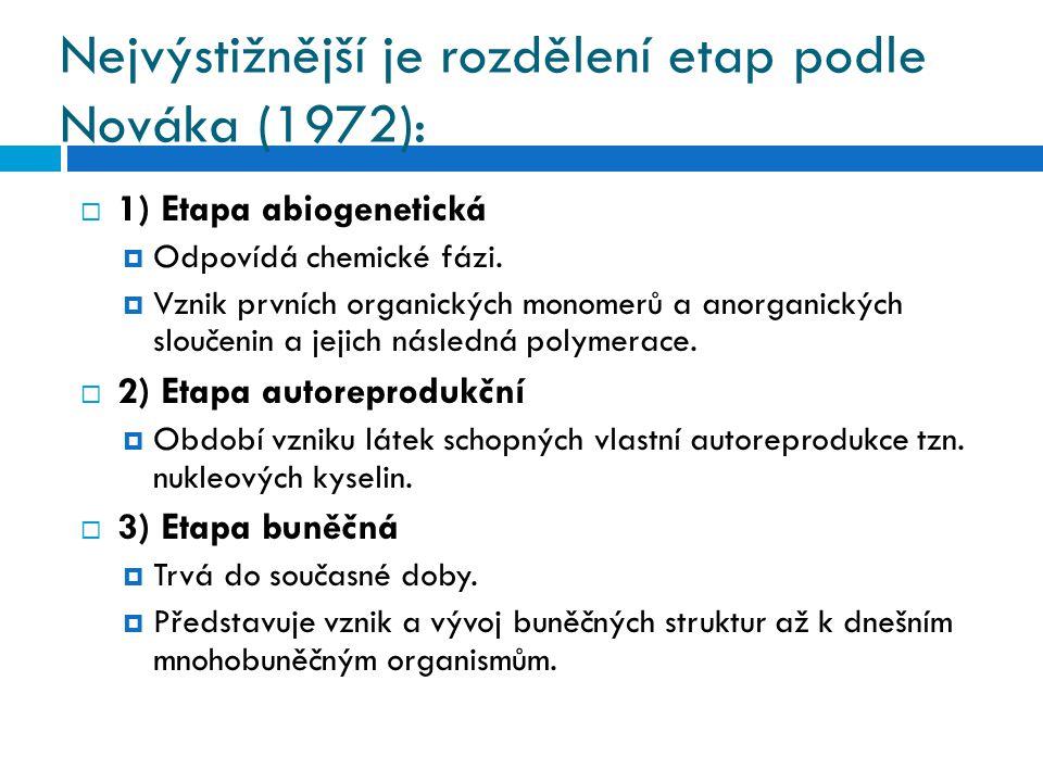 Nejvýstižnější je rozdělení etap podle Nováka (1972):  1) Etapa abiogenetická  Odpovídá chemické fázi.  Vznik prvních organických monomerů a anorga
