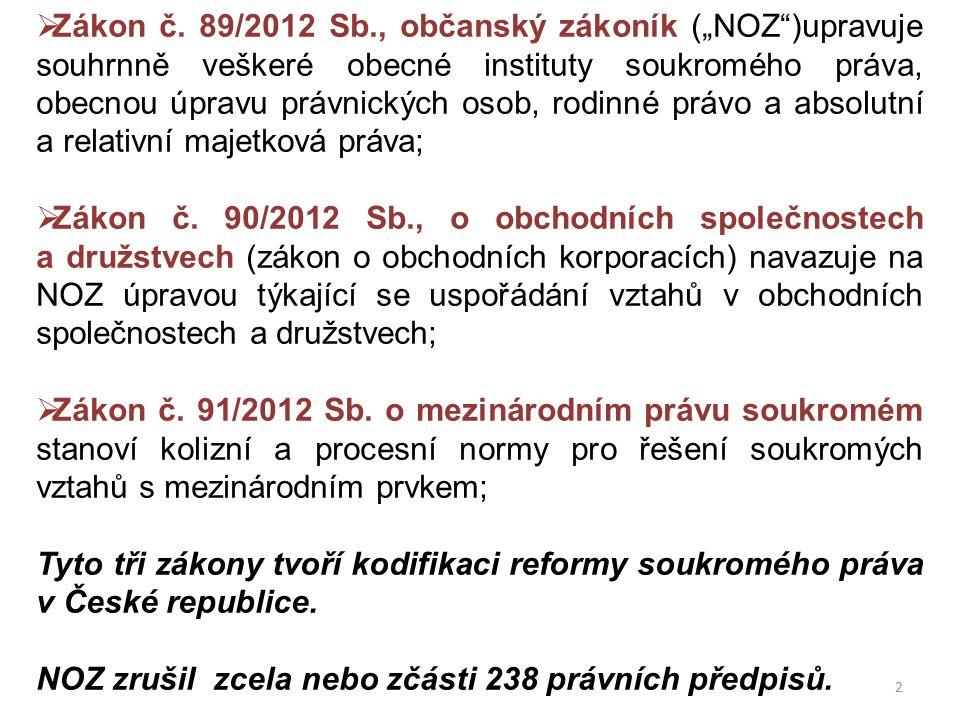 """ Zákon č. 89/2012 Sb., občanský zákoník (""""NOZ"""")upravuje souhrnně veškeré obecné instituty soukromého práva, obecnou úpravu právnických osob, rodinné"""
