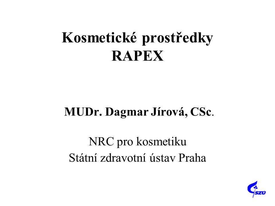 Kosmetické prostředky RAPEX MUDr. Dagmar Jírová, CSc. NRC pro kosmetiku Státní zdravotní ústav Praha