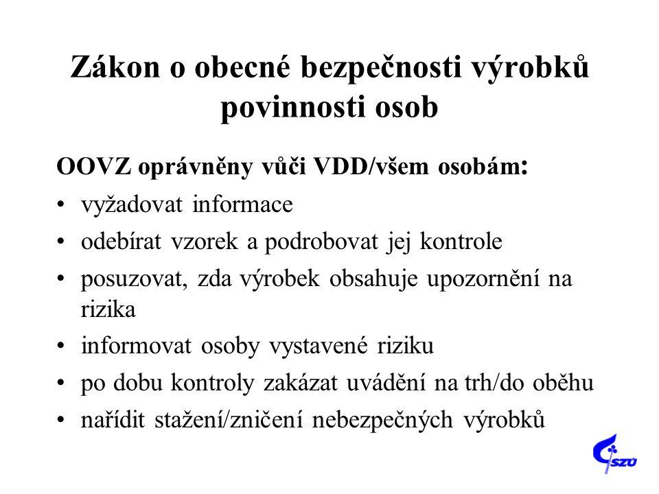 Zákon o obecné bezpečnosti výrobků povinnosti osob OOVZ oprávněny vůči VDD/všem osobám : •vyžadovat informace •odebírat vzorek a podrobovat jej kontro