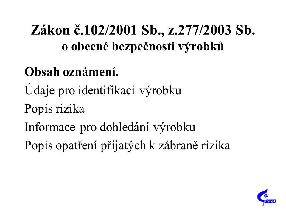 Zákon č.102/2001 Sb., z.277/2003 Sb. o obecné bezpečnosti výrobků Obsah oznámení. Údaje pro identifikaci výrobku Popis rizika Informace pro dohledání