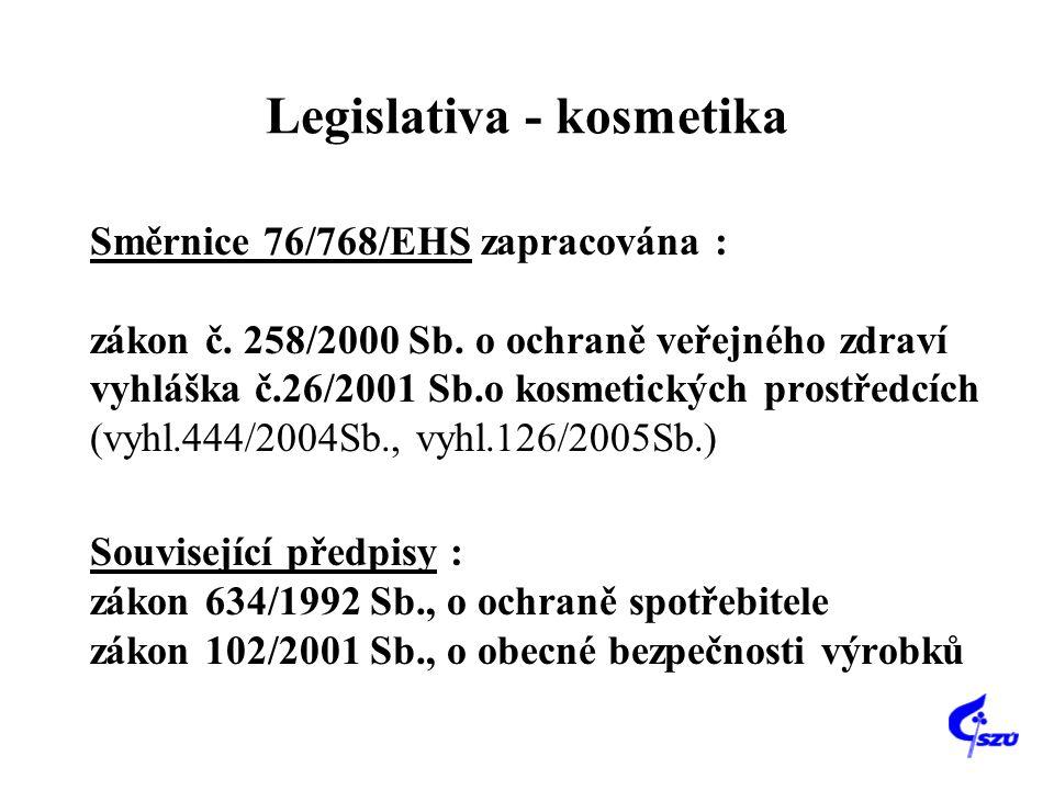 Legislativa - kosmetika Směrnice 76/768/EHS zapracována : zákon č. 258/2000 Sb. o ochraně veřejného zdraví vyhláška č.26/2001 Sb.o kosmetických prostř