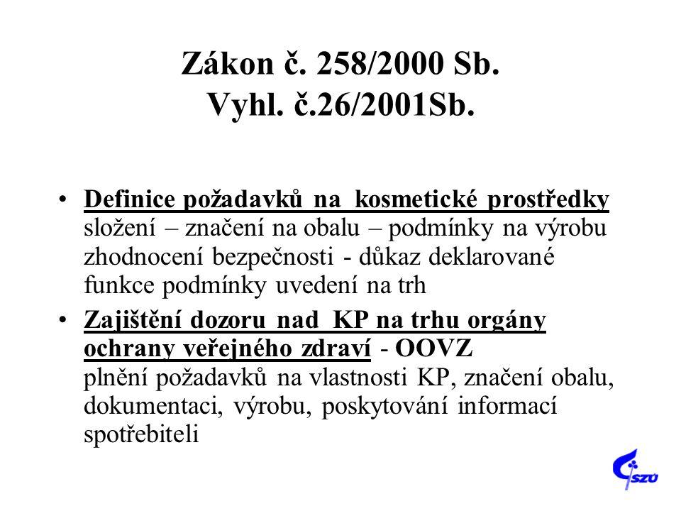 Zákon č. 258/2000 Sb. Vyhl. č.26/2001Sb. •Definice požadavků na kosmetické prostředky složení – značení na obalu – podmínky na výrobu zhodnocení bezpe