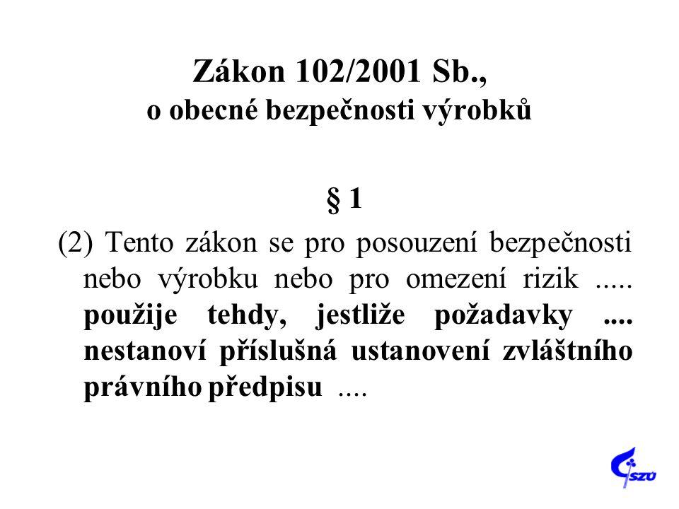 Zákon 102/2001 Sb., o obecné bezpečnosti výrobků § 1 (2) Tento zákon se pro posouzení bezpečnosti nebo výrobku nebo pro omezení rizik..... použije teh