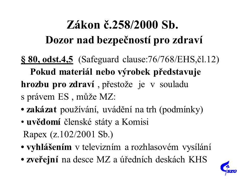 Zákon č.258/2000 Sb. Dozor nad bezpečností pro zdraví § 80, odst.4,5 (Safeguard clause:76/768/EHS,čl.12) Pokud materiál nebo výrobek představuje hrozb