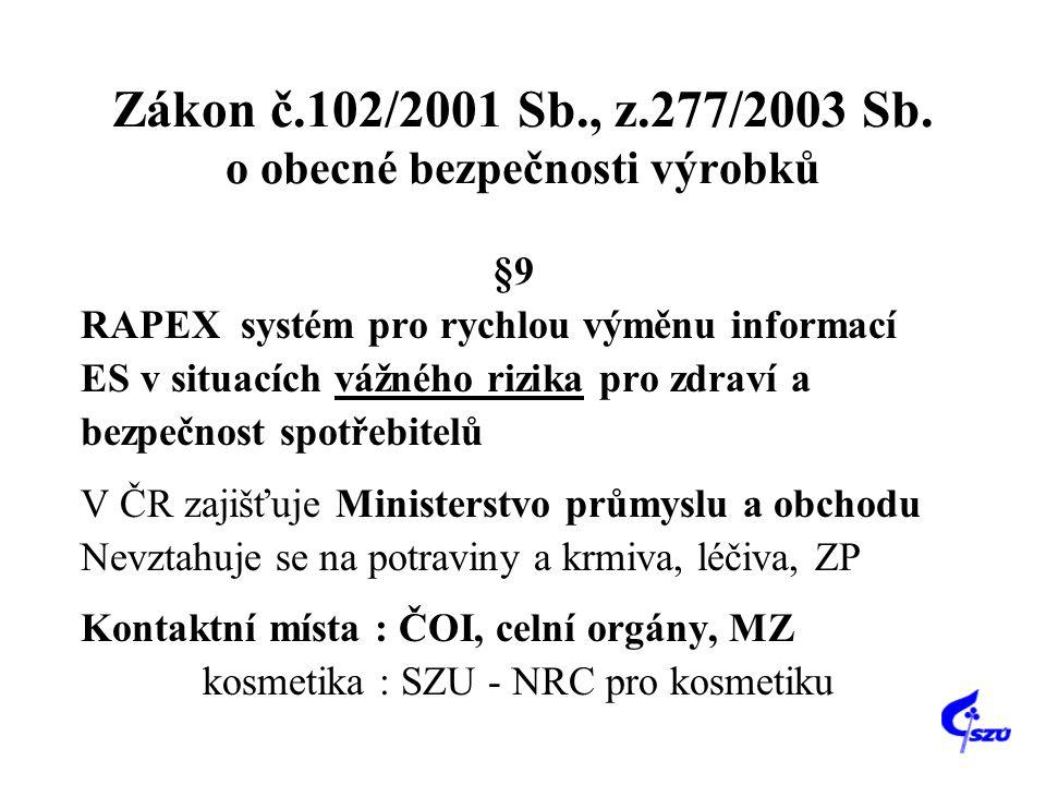 Zákon č.102/2001 Sb., z.277/2003 Sb. o obecné bezpečnosti výrobků §9 RAPEX systém pro rychlou výměnu informací ES v situacích vážného rizika pro zdrav