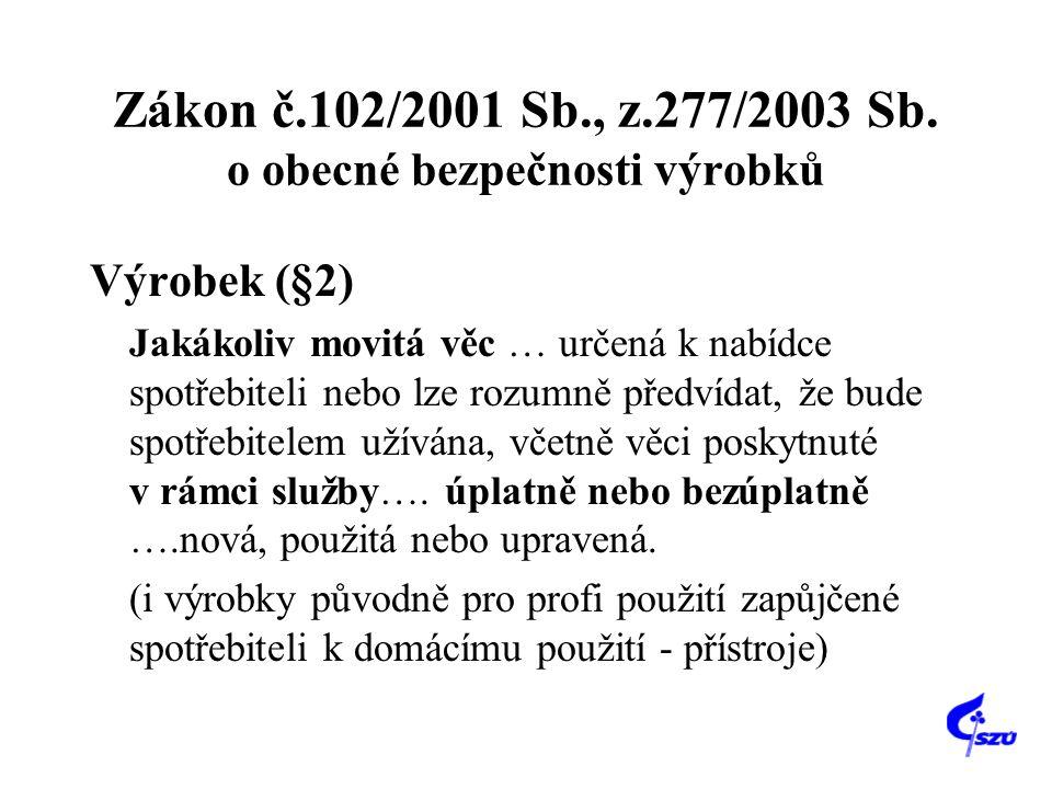 Zákon č.102/2001 Sb., z.277/2003 Sb. o obecné bezpečnosti výrobků Výrobek (§2) Jakákoliv movitá věc … určená k nabídce spotřebiteli nebo lze rozumně p