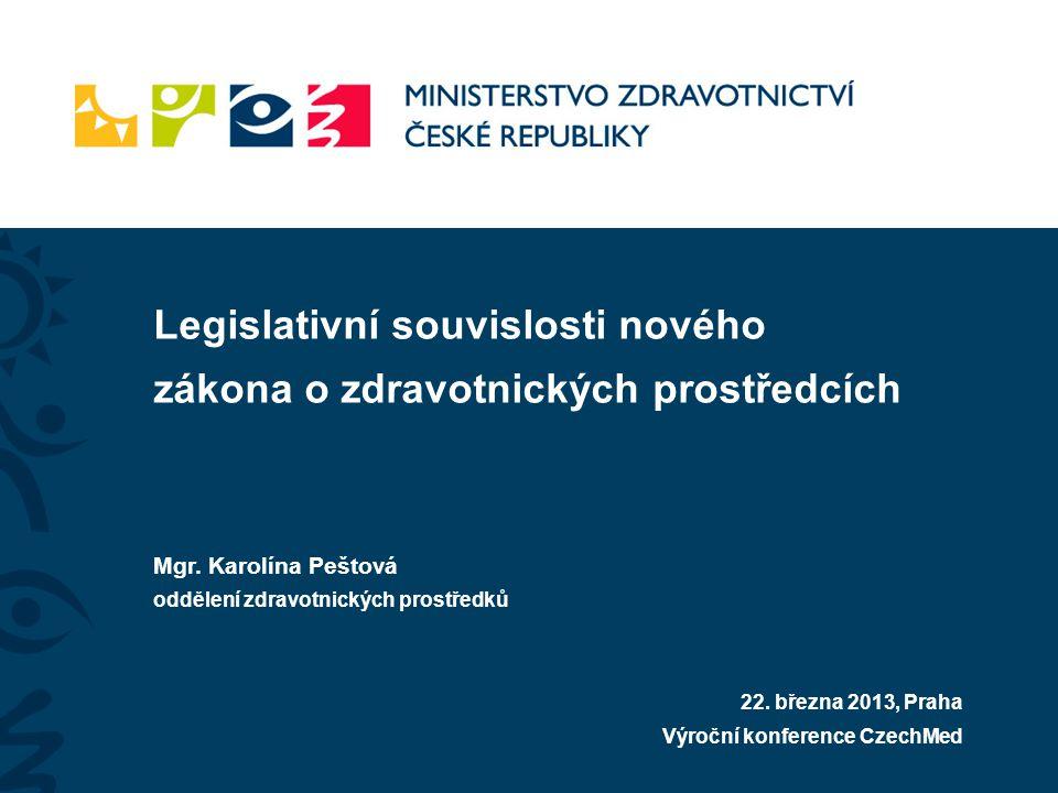 Legislativní souvislosti nového zákona o zdravotnických prostředcích Mgr. Karolína Peštová oddělení zdravotnických prostředků 22. března 2013, Praha V