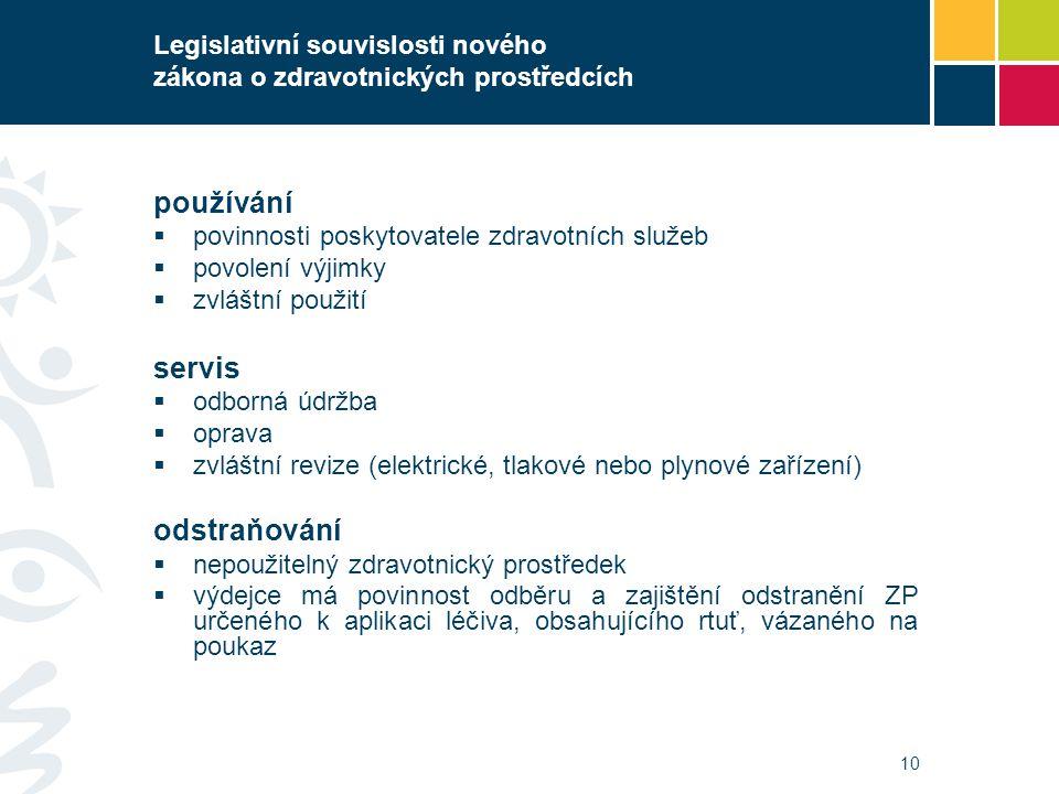 10 Legislativní souvislosti nového zákona o zdravotnických prostředcích používání  povinnosti poskytovatele zdravotních služeb  povolení výjimky  z