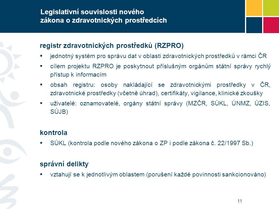11 Legislativní souvislosti nového zákona o zdravotnických prostředcích registr zdravotnických prostředků (RZPRO)  jednotný systém pro správu dat v o