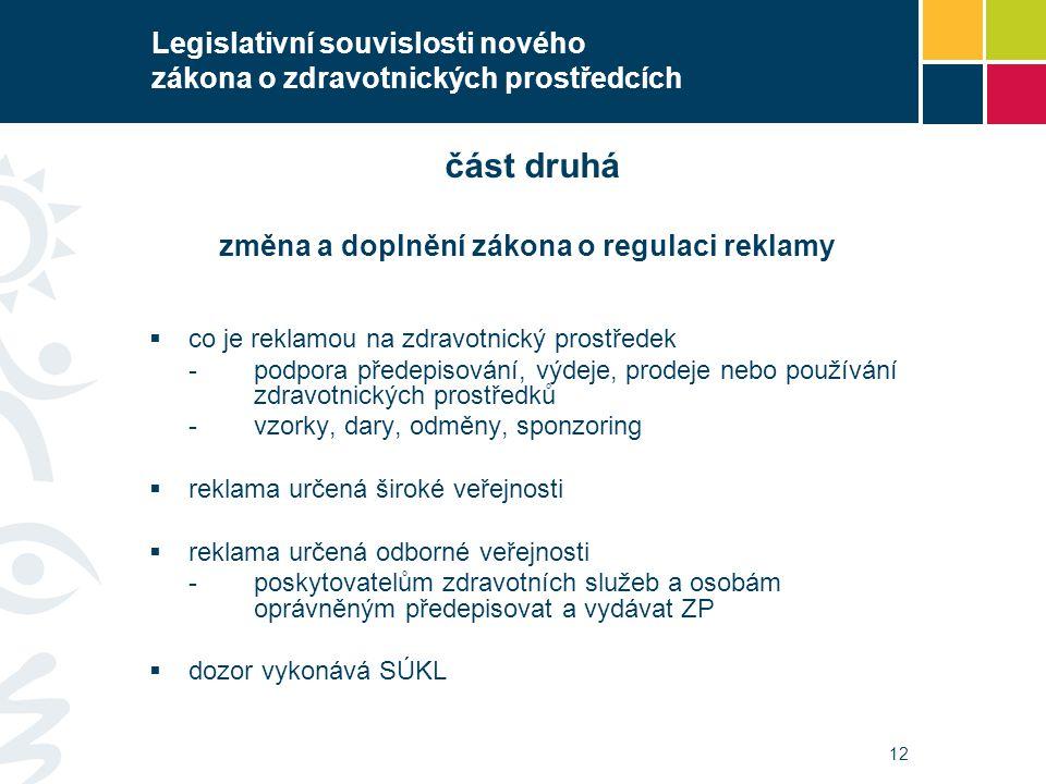 12 část druhá změna a doplnění zákona o regulaci reklamy  co je reklamou na zdravotnický prostředek -podpora předepisování, výdeje, prodeje nebo použ