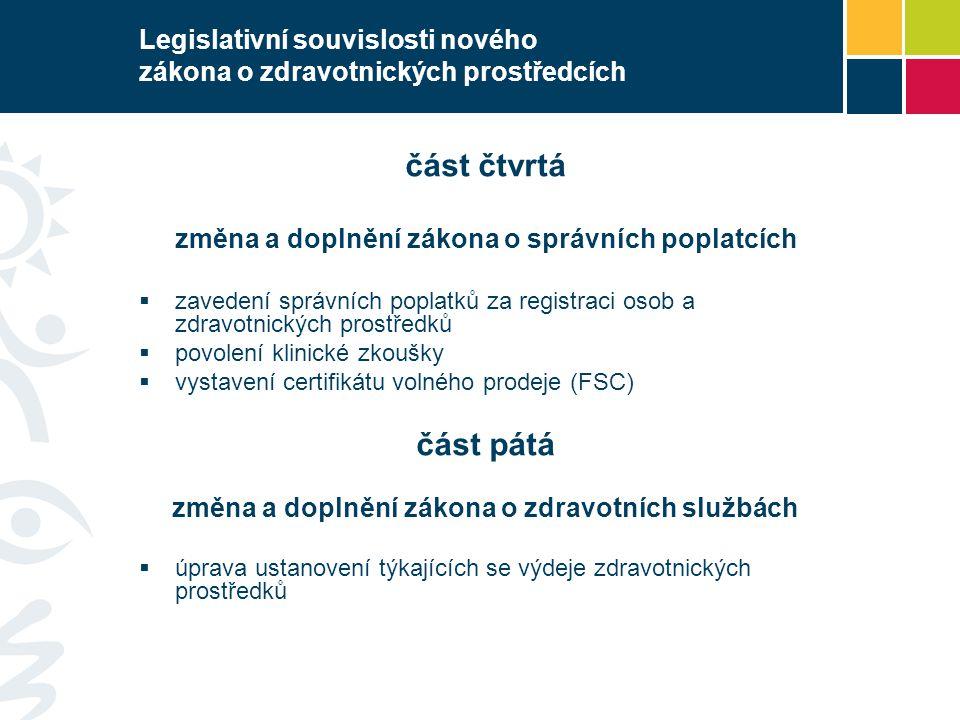 Legislativní souvislosti nového zákona o zdravotnických prostředcích část čtvrtá změna a doplnění zákona o správních poplatcích  zavedení správních p
