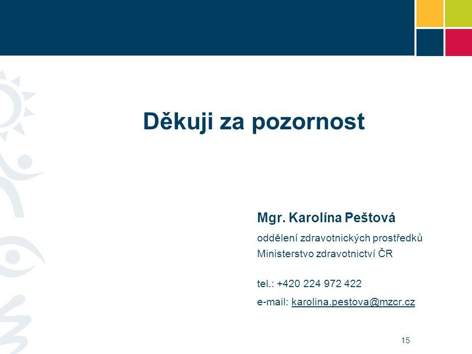 15 Děkuji za pozornost Mgr. Karolína Peštová oddělení zdravotnických prostředků Ministerstvo zdravotnictví ČR tel.: +420 224 972 422 e-mail: karolina.