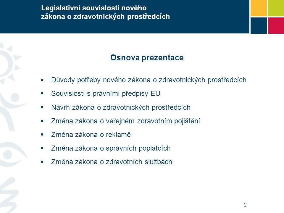 2 Legislativní souvislosti nového zákona o zdravotnických prostředcích Osnova prezentace  Důvody potřeby nového zákona o zdravotnických prostředcích