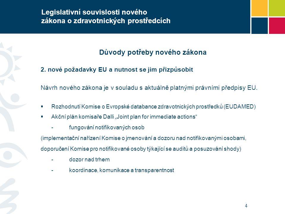4 Legislativní souvislosti nového zákona o zdravotnických prostředcích Důvody potřeby nového zákona 2. nové požadavky EU a nutnost se jim přizpůsobit