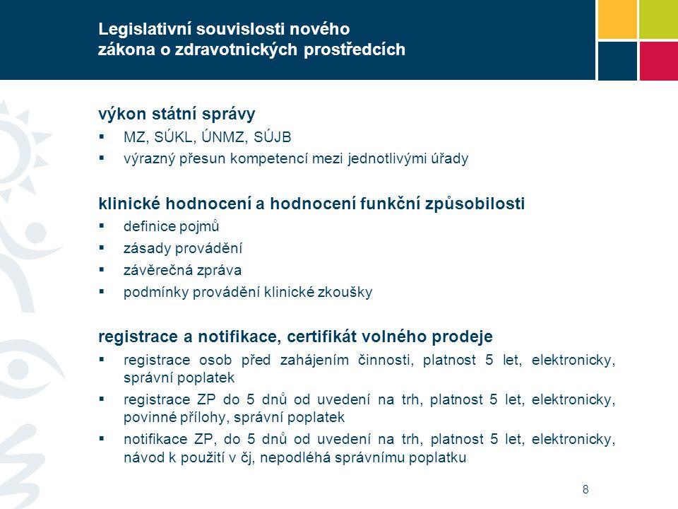 8 Legislativní souvislosti nového zákona o zdravotnických prostředcích výkon státní správy  MZ, SÚKL, ÚNMZ, SÚJB  výrazný přesun kompetencí mezi jed