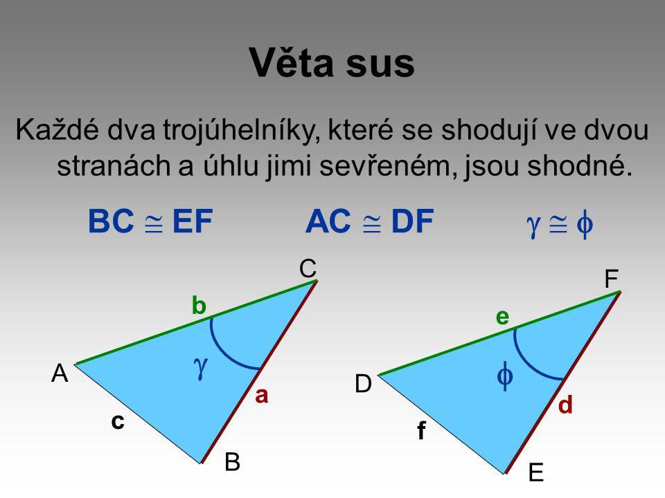 Věta sus Každé dva trojúhelníky, které se shodují ve dvou stranách a úhlu jimi sevřeném, jsou shodné. BC  EF AC  DF   D E F f d e  A B C c a b