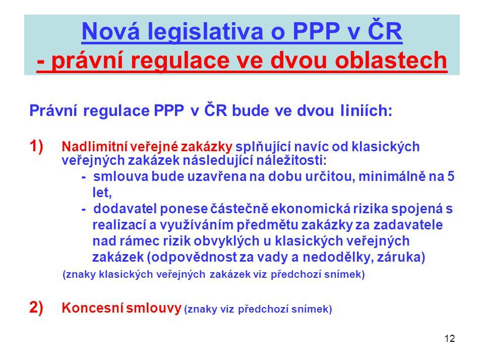 12 Nová legislativa o PPP v ČR - právní regulace ve dvou oblastech Právní regulace PPP v ČR bude ve dvou liniích: 1) Nadlimitní veřejné zakázky splňuj