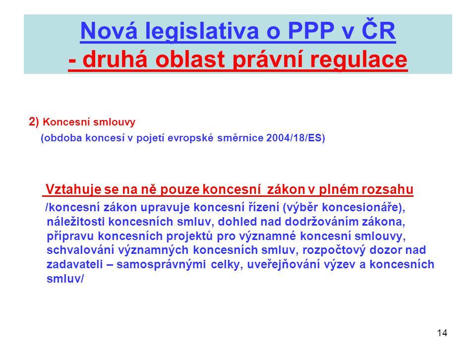 14 Nová legislativa o PPP v ČR - druhá oblast právní regulace 2) Koncesní smlouvy (obdoba koncesí v pojetí evropské směrnice 2004/18/ES) Vztahuje se n