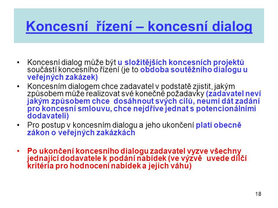 18 Koncesní řízení – koncesní dialog •Koncesní dialog může být u složitějších koncesních projektů součástí koncesního řízení (je to obdoba soutěžního