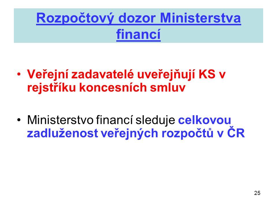 25 Rozpočtový dozor Ministerstva financí •Veřejní zadavatelé uveřejňují KS v rejstříku koncesních smluv •Ministerstvo financí sleduje celkovou zadluže